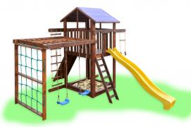 A children's Playground with swings and monkey bars
